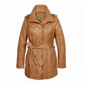 Ladies Leather zip fasten coat Tan Kati