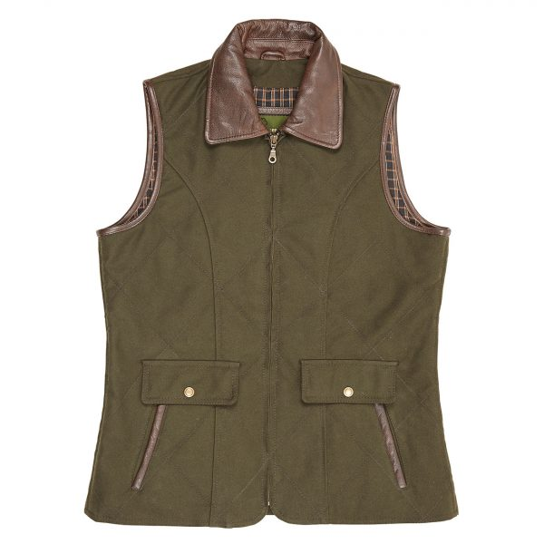 Ladies-Moleskin-Gillet-Olive-Mary