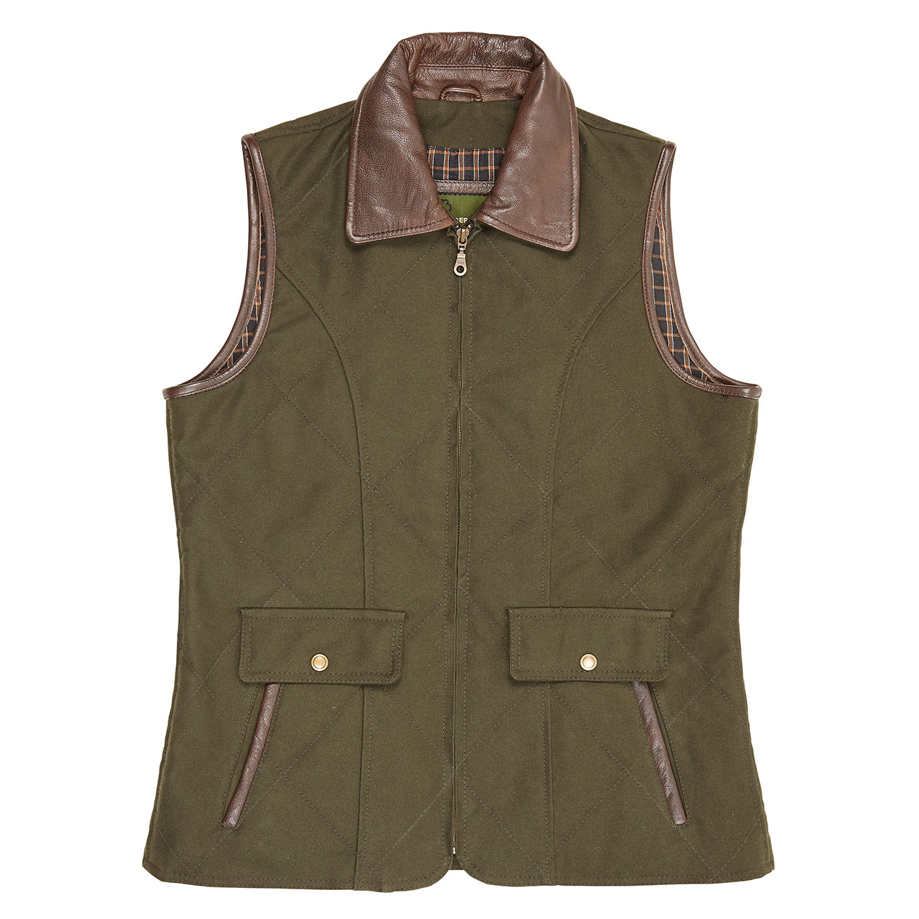 Ladies Moleskin Gillet Olive Mary