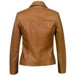 Ladies Tan Leather Blazer Jess back