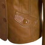 Ladies Tan Leather Blazer pocket detail Jess