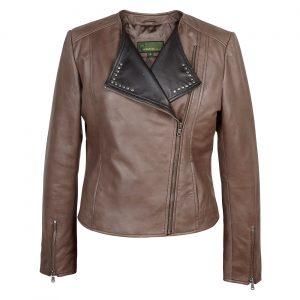 Ladies biker style leather jacket mink Sue