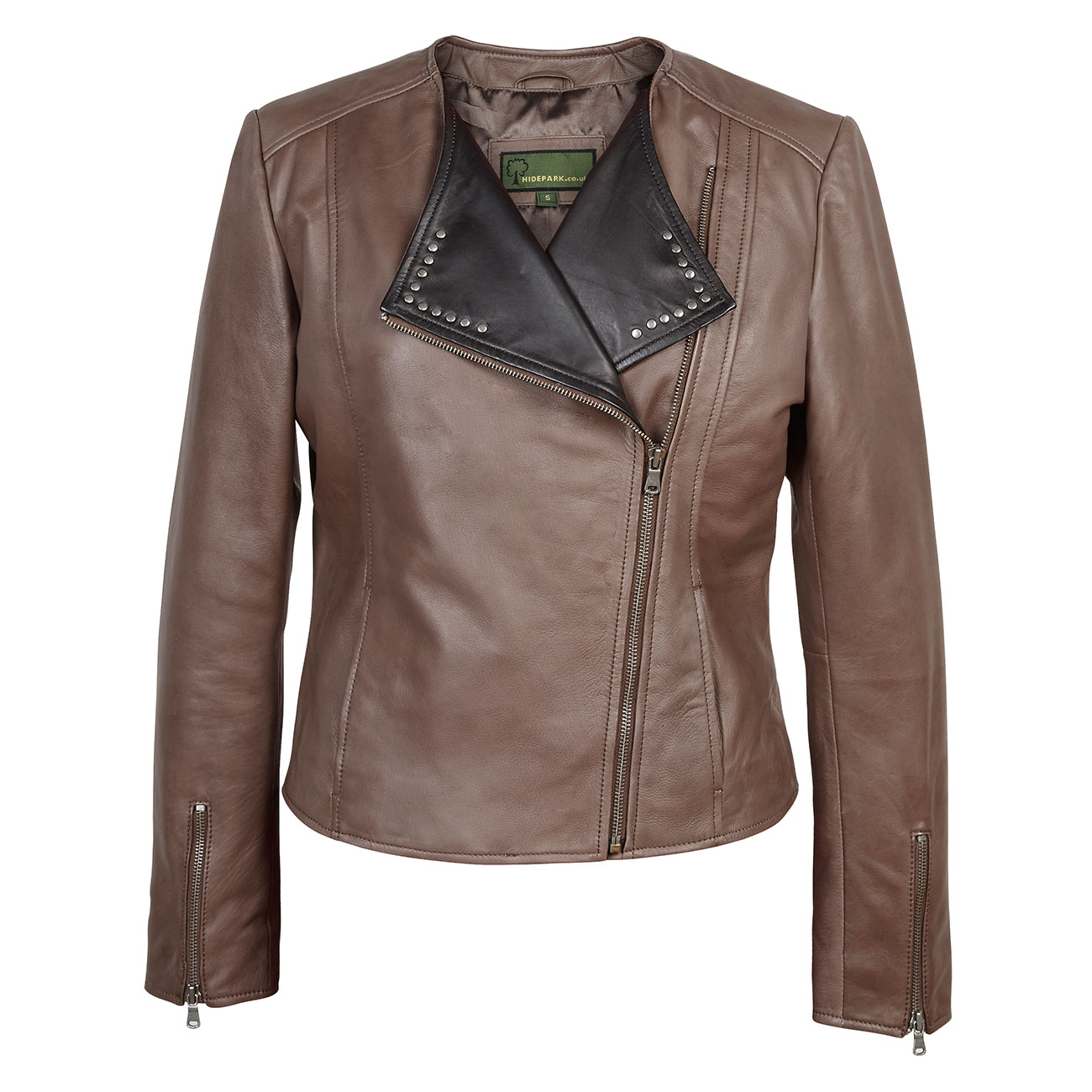 Ladies biker style leather jacket mink Sue