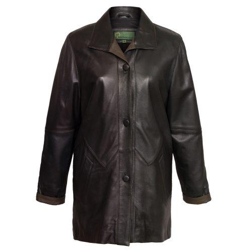 ladies black leather coat linda