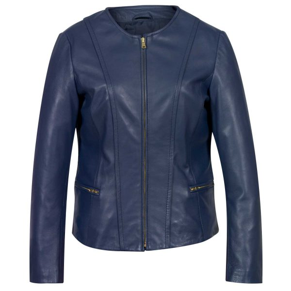 Ladies blue collarless jacket sophie