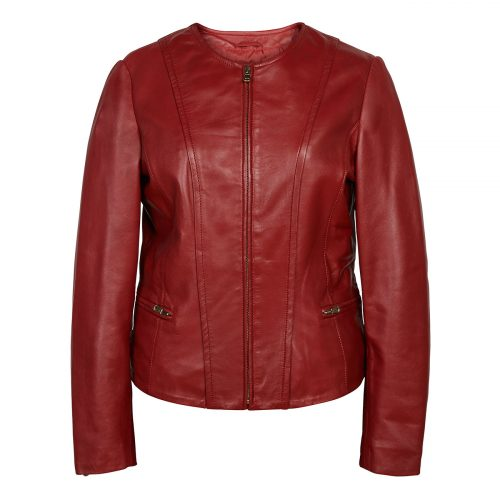 Ladies collarless jacket Red Sophie