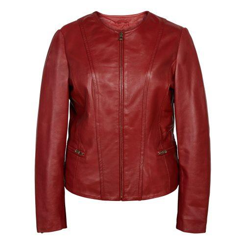 Ladies collarless jacket Red Sophie