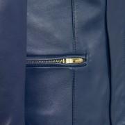 Ladies collarless jacket blue sophie pocket detail