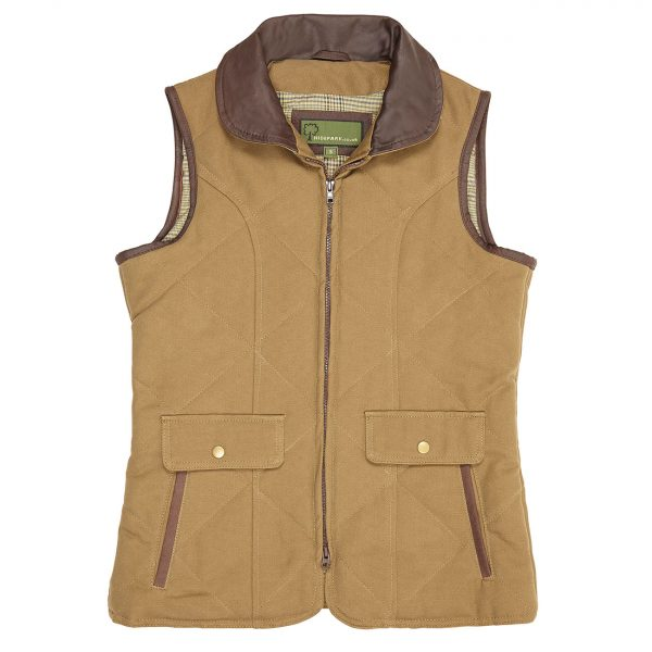Ladies-cotton-twill-gillet-Khaki-Mary
