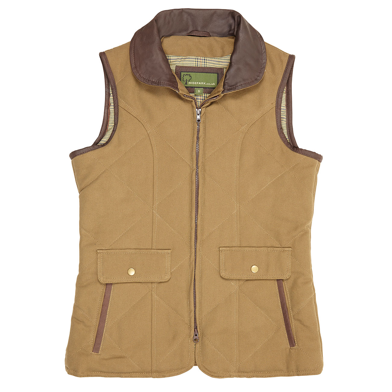 Ladies cotton twill gillet Khaki Mary