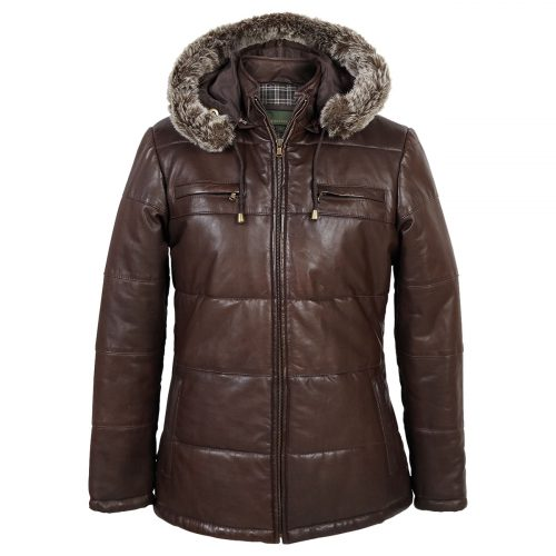 Ladies hooded leather jacket brown Nina