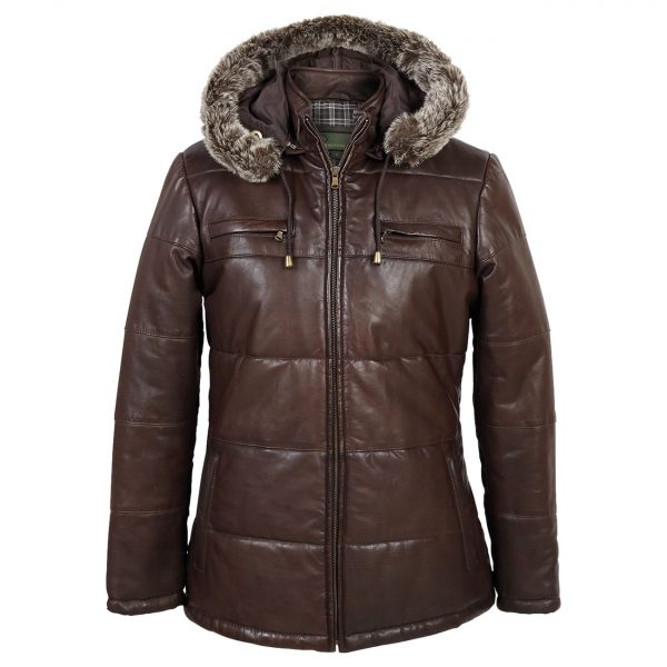 Ladies-hooded-leather-jacket-brown-Nina