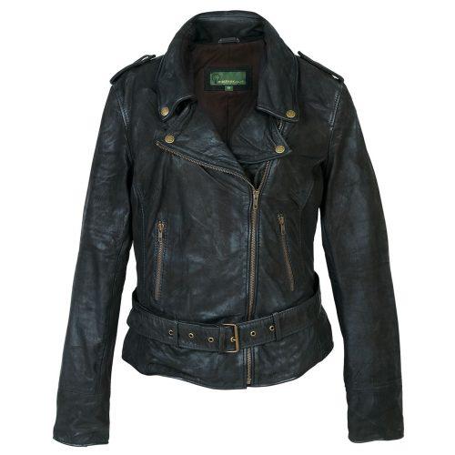 Ladies leather biker jacket Black Zoe