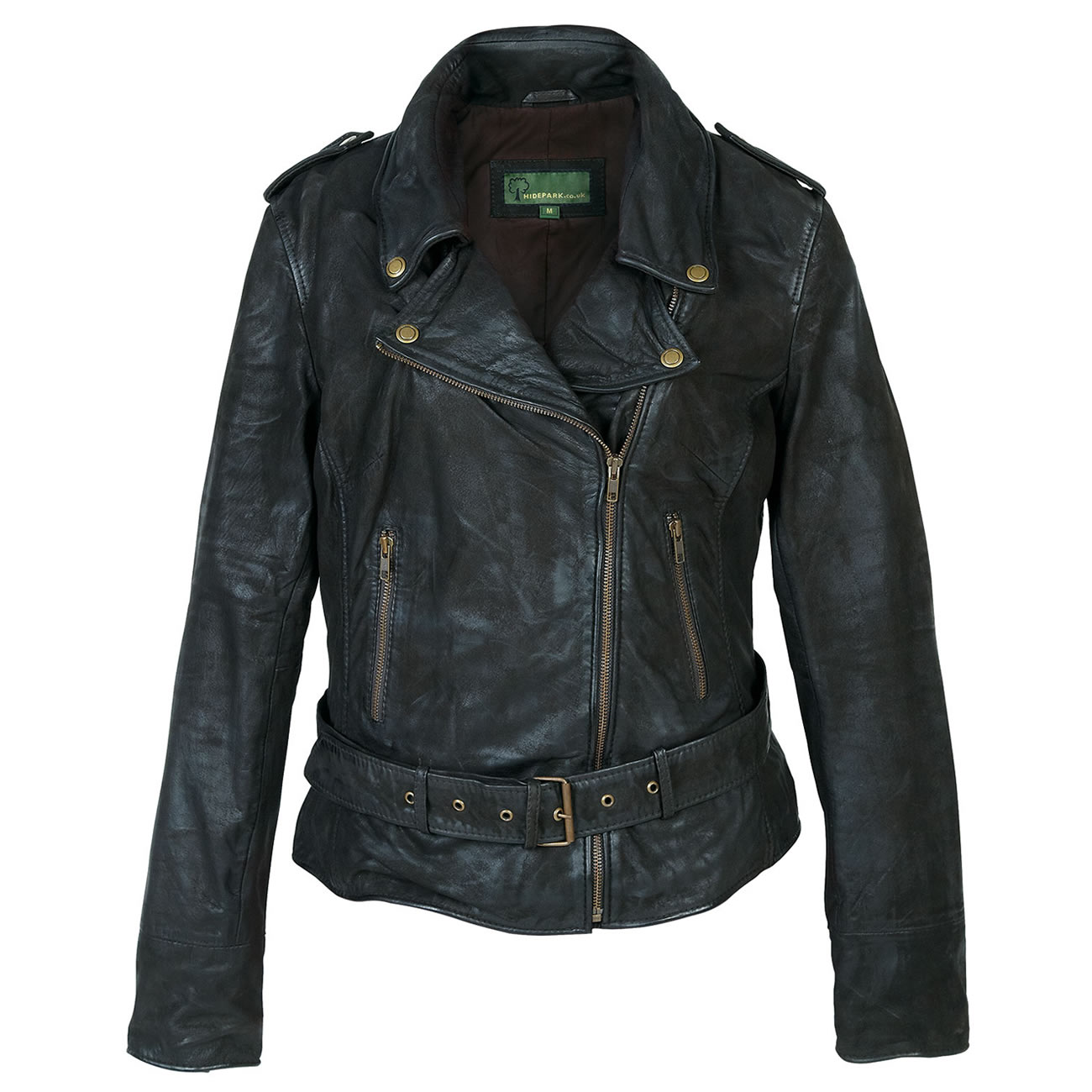 Ladies leather biker jacket Black Zoe