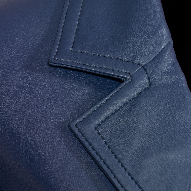 Ladies nappa leather blazer collar detail Jess Blue