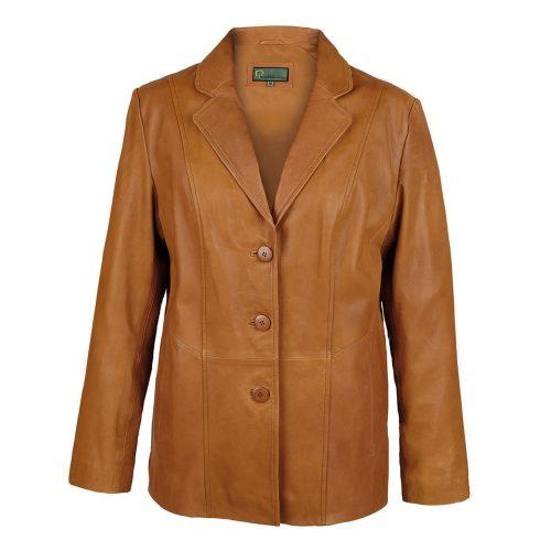 Ladies leather blazer tan Jolie