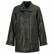 Ladies leather coat Green Jenny
