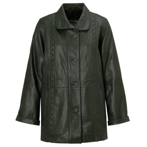 Ladies leather coat Green Jenny