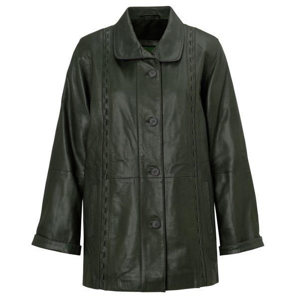 Ladies-leather-coat-Green-Jenny