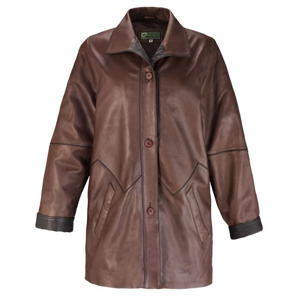 Ladies-leather-coat-brown-Linda