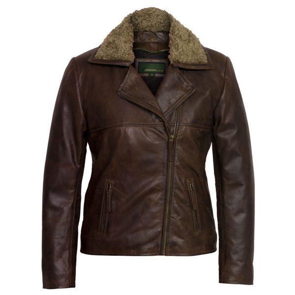 Ladies leather flying jacket Brown Clara
