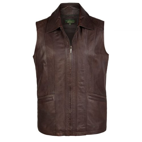 Ladies leather gilet Brown Liz