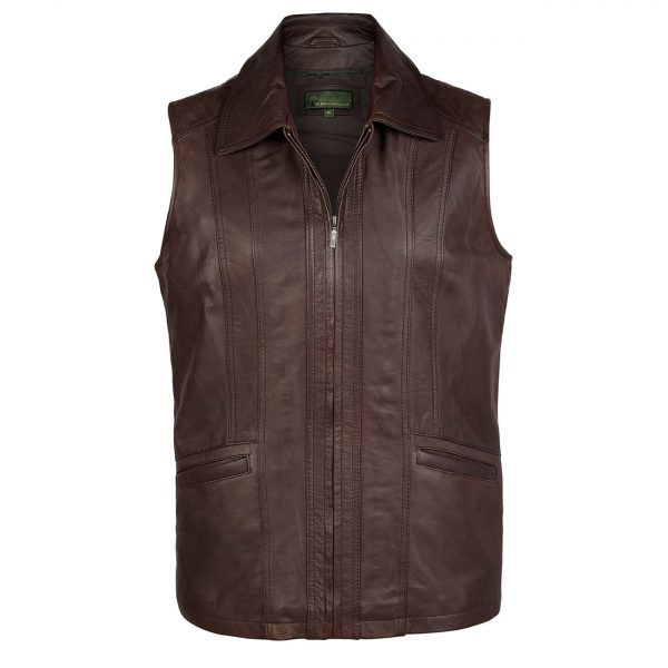 Ladies-leather-gilet-Brown-Liz