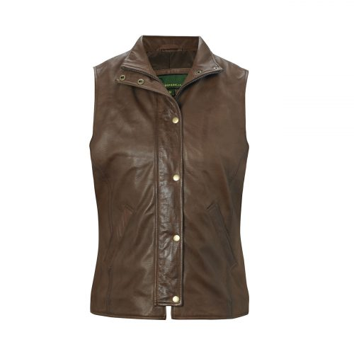 Ladies leather gilet brown Sibson