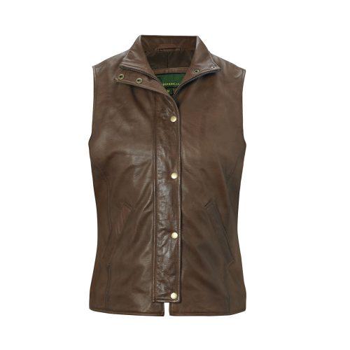 Ladies leather gilet brown Sibson