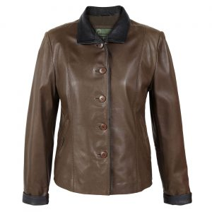 Ladies leather jacket Lulu Brown