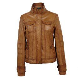 Ladies-leather-jacket-Tan-Bella