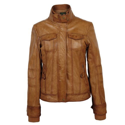 Ladies leather jacket Tan Bella