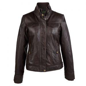 Ladies leather jacket brown Bella