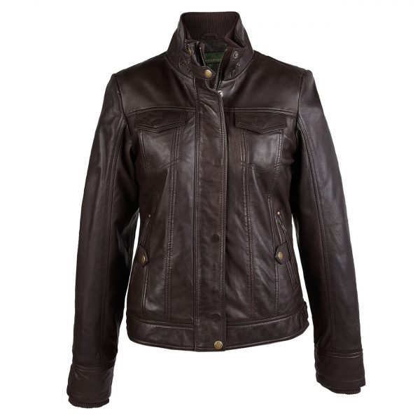 Ladies-leather-jacket-brown-Bella