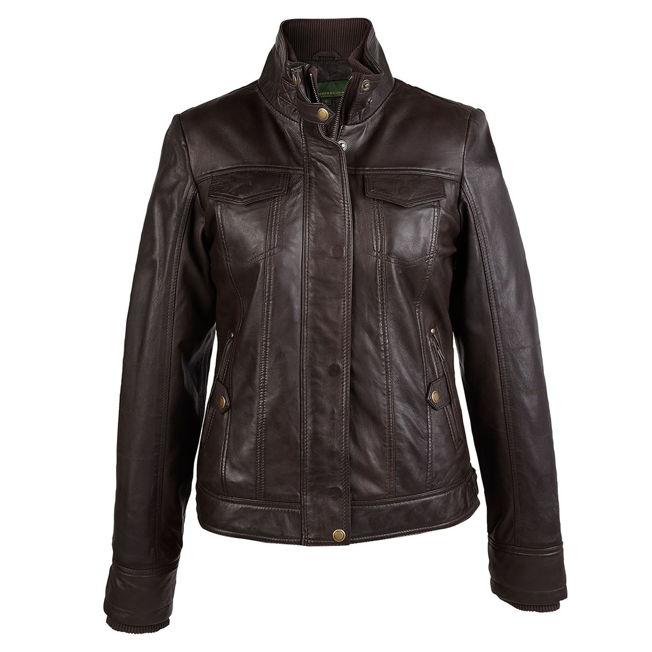 Ladies leather jacket brown Bella