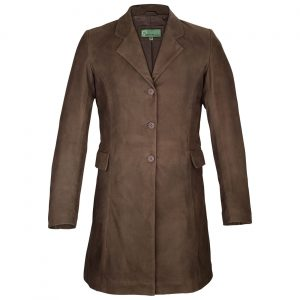 Ladies long leather coat brown York