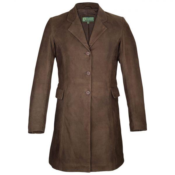 Ladies-long-leather-coat-brown-York-