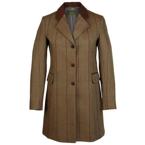 Ladies-long-tweed-coat-Brown-109-york