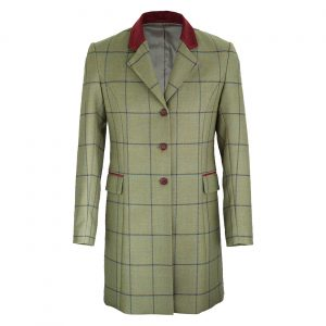 Ladies long tweed coat with contrast collar  York