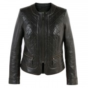 Ladies quilted leather jacket Black Ann