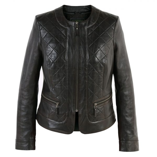 Ladies-quilted-leather-jacket-Black-Ann