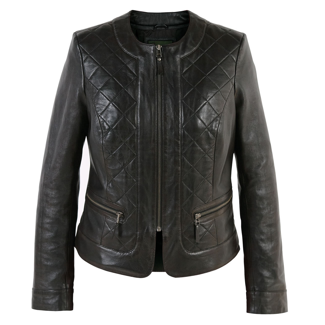 Ladies quilted leather jacket Black Ann