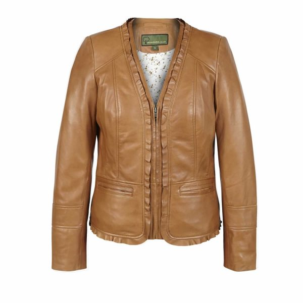Ladies short Tan Leather Jacket Erin