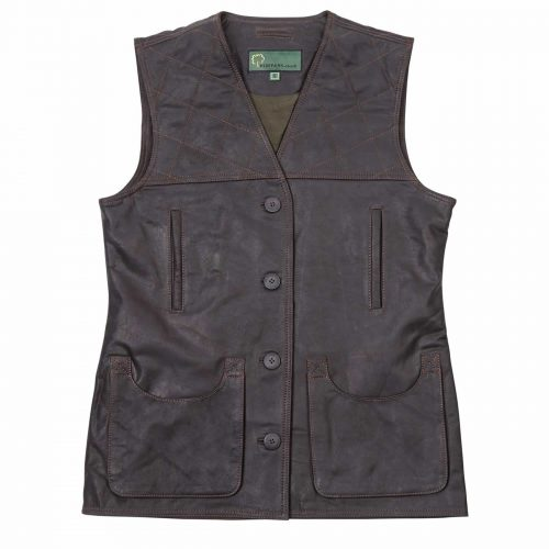 Leadies Leather Shooting Vest L Brown