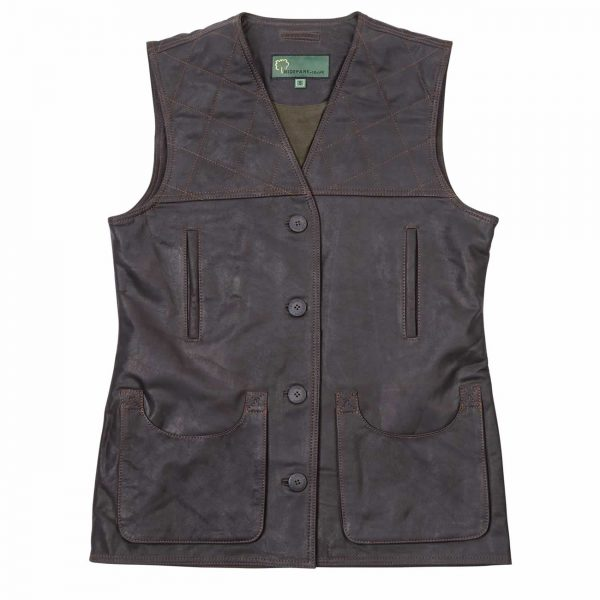 Leadies-Leather-Shooting-Vest-L010-Brown