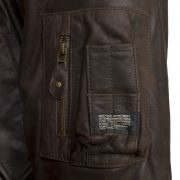 mens b brown leather coat arm pocket detail