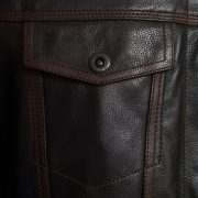 Mens Elvis leather jacket black antique pocket detail
