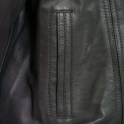 Mens Grey leather blouson pocket detail