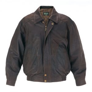 Mens Leather Blouson Jacket Brown