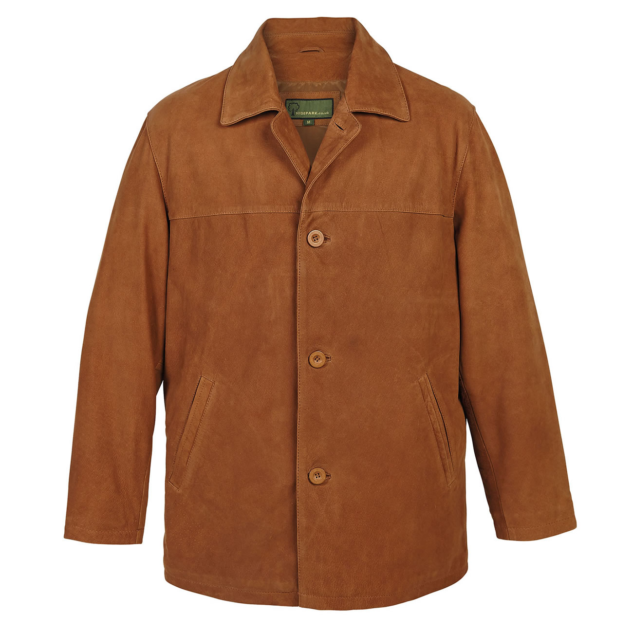 Mens Leather Button Jacket  Tan